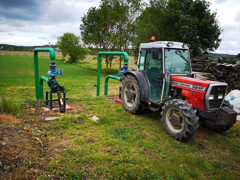 branchement du tracteur au système d'aspersion antigel